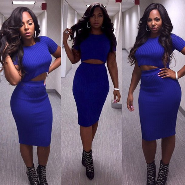 ashanti two-piece blue blue skirt bodycon skirt pencil skirt skirt