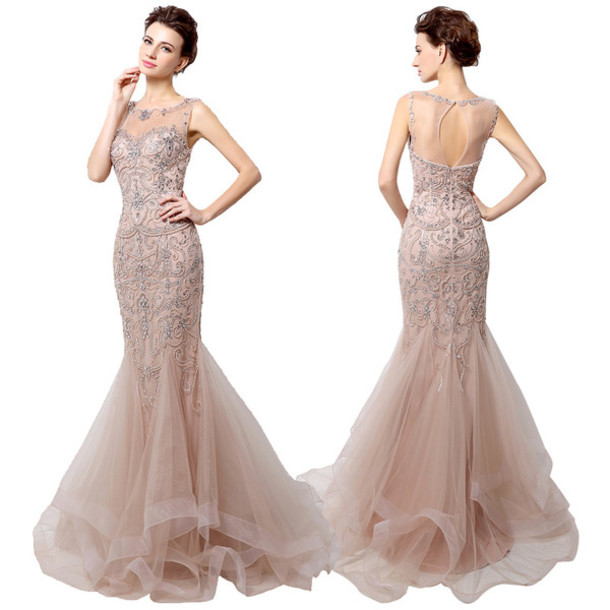 dress, mermaid prom dress, tulle beading dress, luxury beading ...