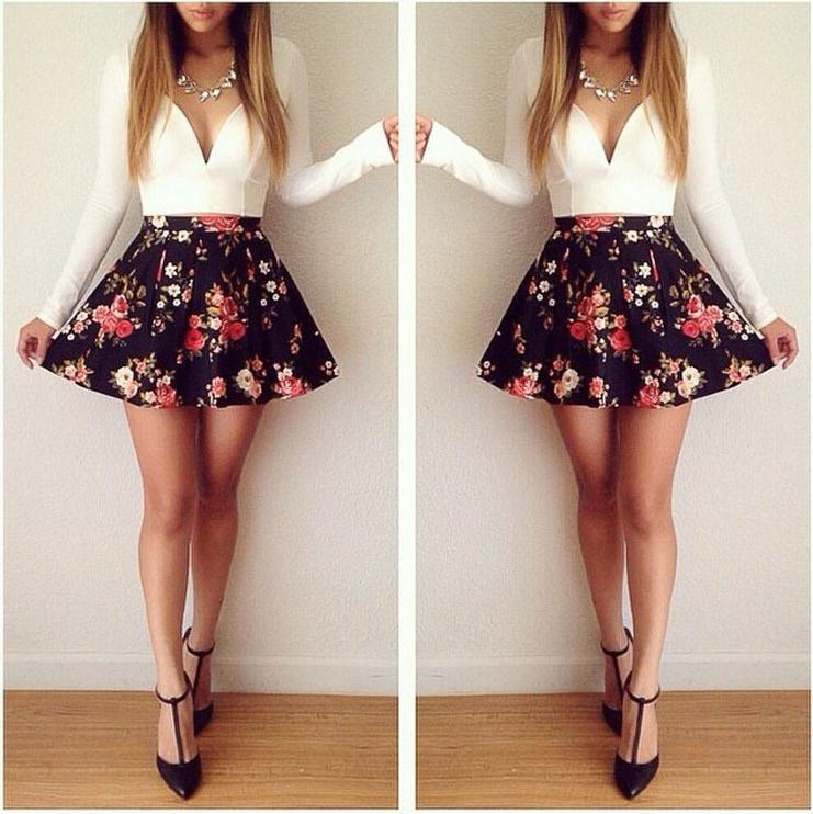 Nextshe sexy deep v neck fashion two piece floral print dress women summer vestidos mini short shirt