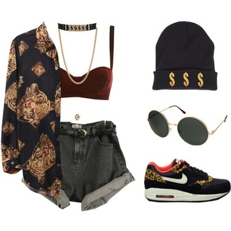 blouse print sunglasses crop tops burgundy