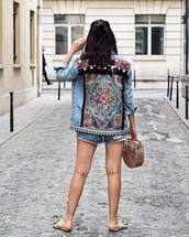 jacket,tumblr,denim,denim jacket,embellished,embellished denim,shoes,slide shoes,mules,bag,basket bag,shorts
