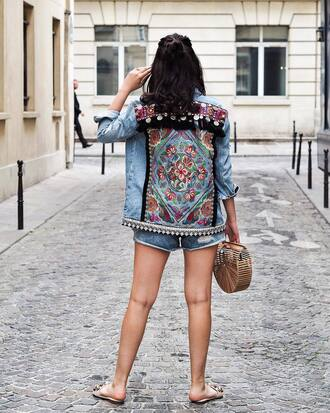 jacket tumblr denim denim jacket embellished embellished denim shoes slide shoes mules bag basket bag shorts