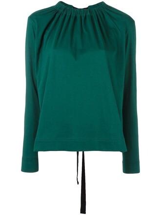 blouse women cotton green top