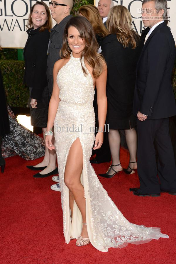 Discount slit halter lace celebrity dress lea michele at online with $165.45/piece