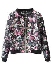 jacket,floral jacket,bomber jacket,floral print jacket,long sleeves,zip front bomber,www.ustrendy.com