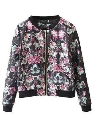 jacket floral jacket bomber jacket floral print jacket long sleeves zip front bomber www.ustrendy.com