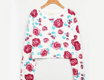 [grxjy560852]Rose Flowers Print Short Crewneck Pullover Slouch Sweatshirt  on Luulla
