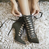 shoes,ankle boots,olive green,high heels boots,lace up boots