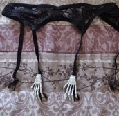 underwear,goth,creepy,cute,kawaii,black,emo,garter belt,sexy,lace,bones,creepy cute,skeleton,skeleton hand,black garter belt,lingerie