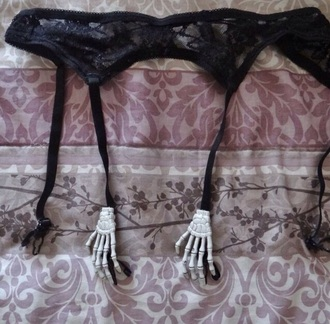 underwear goth creepy cute kawaii black emo garter belt sexy lace bones creepy cute skeleton skeleton hand black garter belt lingerie