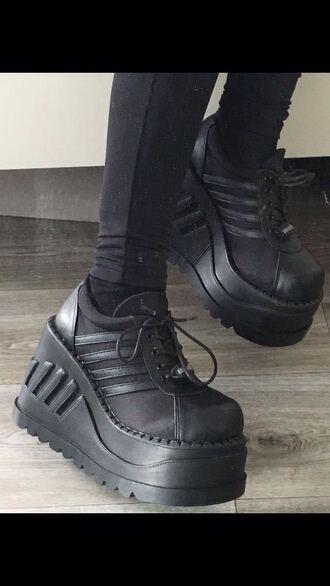 shoes black black shoes creepers black creepers platform shoes sportswear