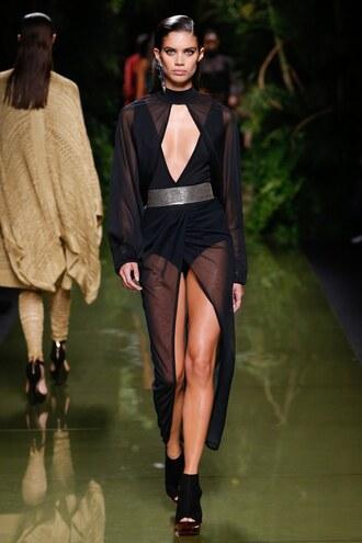dress underwear sara sampaio belt balmain runway gown all black everything keyhole dress paris fashion week 2016 bodysuit