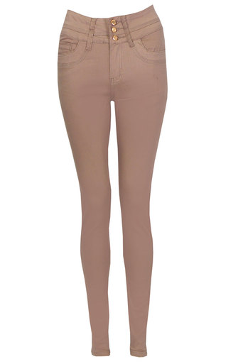 Helen Candy Skinny Jeans In Beige - Pop Couture