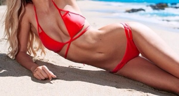 swimwear red triangle bikini hot beach