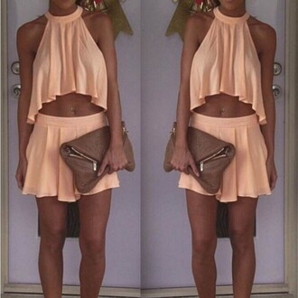 dress skirt top halter mini two-piece set irregular top loose orange mini dress mini skirt sexy midriff top short dress sleeveless lady fashion party summer summer dress