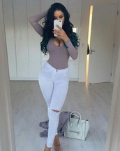 bag,white,bodysuit,white pants,handbag,long sleeves,blush,heels,high heels,high waisted,high waisted jeans,pumps,nude,nude heels,acrylic nails,lashes,top,jeans,t-shirt