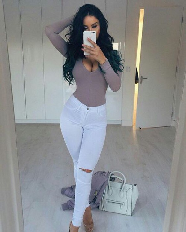 Bag White Bodysuit White Pants Handbag Long Sleeves