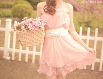 dress pretty pink pretty in pink pastel vintage lovely cute spring summer bright sweet pink dress