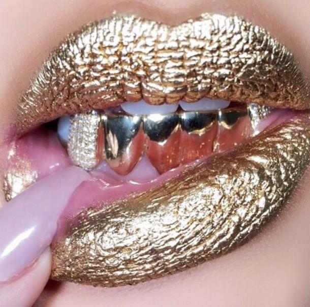 lipstick grillz dope wishlist metallic gold lipstick metallic lipstick swag jewels make-up gold lip gloss tiger rose teeth jewel gold grillz