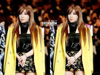 skirt shirt coat park bom blazer coat yellow cape crop top bustier