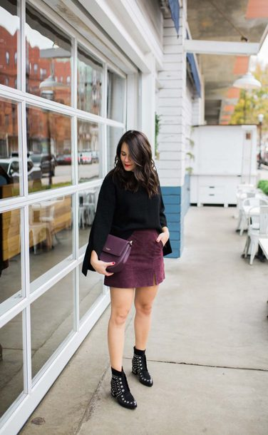 mystylevita blogger skirt sweater shoes bag mini skirt black sweater ankle boots winter outfits