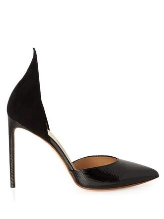 pumps suede black shoes