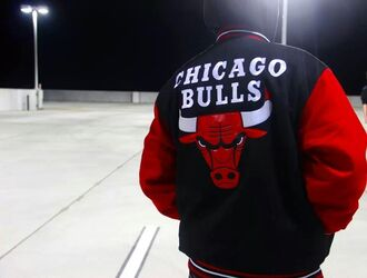 jacket chicago bulls red white black guys