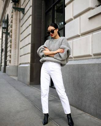 sweater tumblr grey sweater knit knitwear knitted sweater denim jeans white jeans boots black boots sunglasses