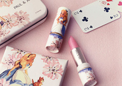 make-up,alice in wonderland,lipstick,lips,cute,super cute,alice,pink,girly,tumblr,flowers,lovely,disney,wonder woman,wonderful,lipsy