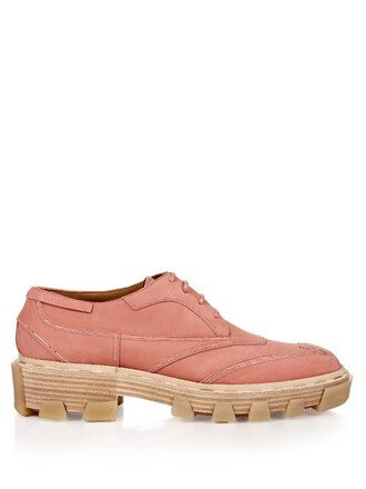 shoes lace-up shoes lace leather light pink light pink