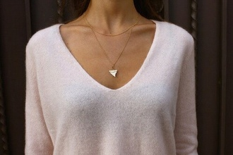 top light pink jewels shark tooth necklace