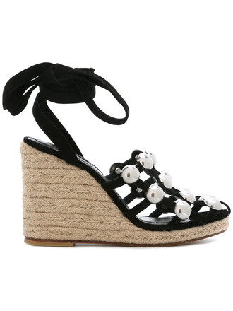 women sandals wedge sandals leather suede black shoes