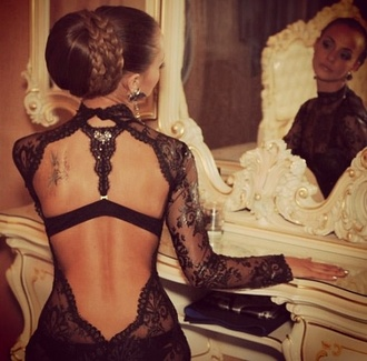 dress black lace backless backless dress