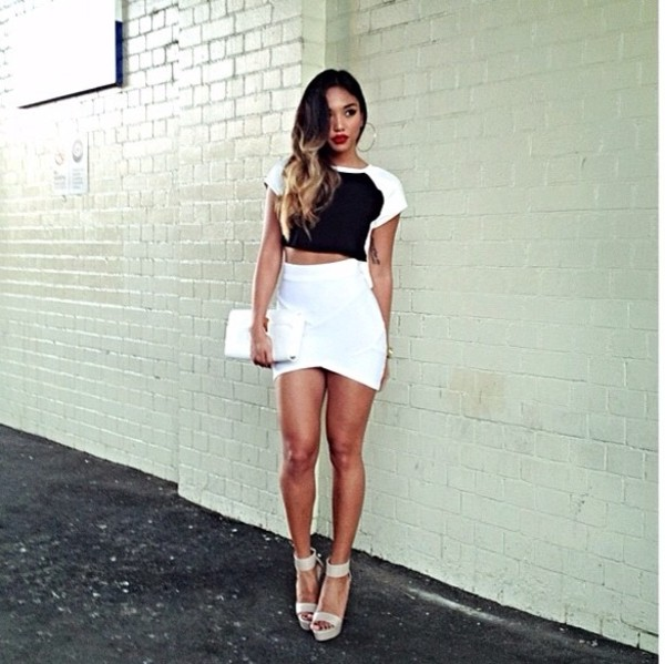 skirt white shirt