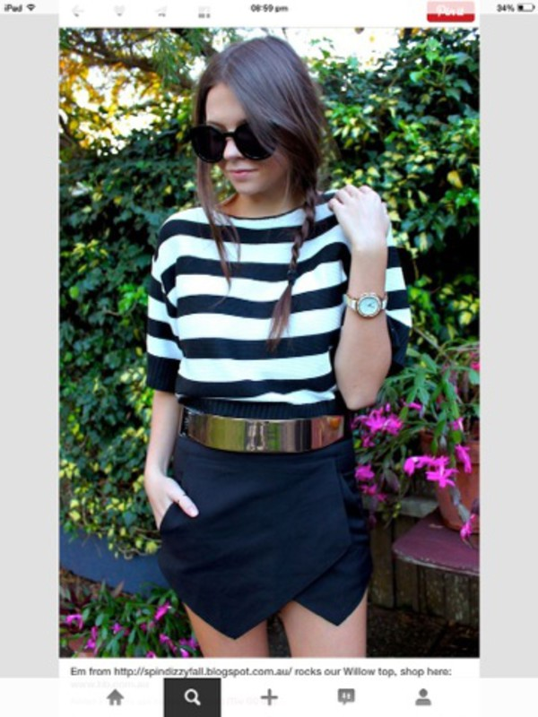 belt top skirt skorts
