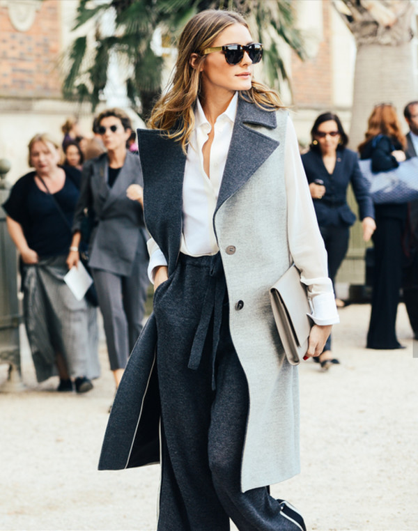 coat olivia palermo fashion week 2014 streetstyle pants