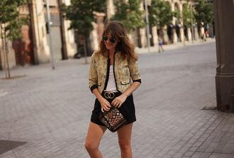 my daily style blogger jacket shorts bag belt