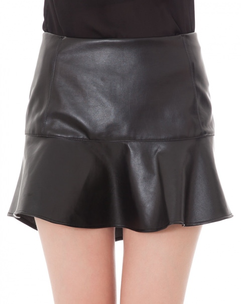 AMARO | Saia Peplum Faux Leather