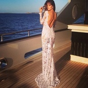 dress,white lace dress,blouse,formal dress,lace,backless,prom dress