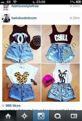 shirt shorts chanel t-shirt