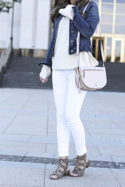lilly style blogger jacket sweater jeans shoes bag sunglasses denim jacket shoulder bag sandals white pants