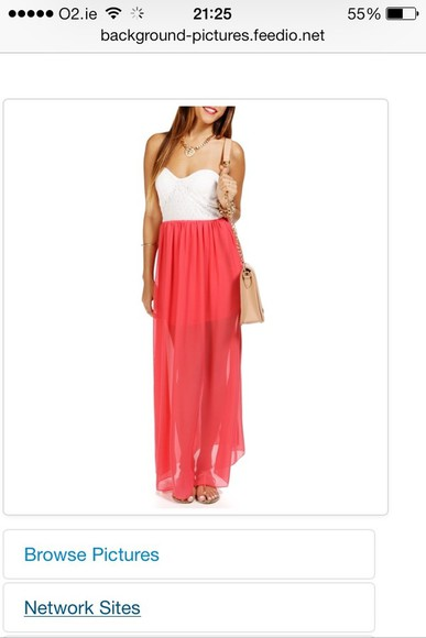 dress coral dress maxi white stripless