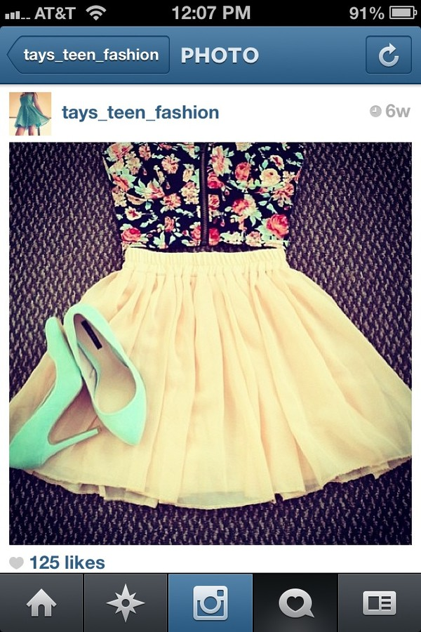 blouse floral print blouse skirt high heels shoes