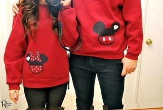 sweater boyfriend girlfriend couple cute jumper heart relationship red minnie mouse mickey mouse valentines day