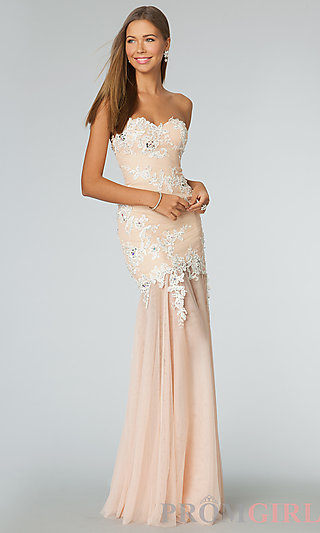 Strapless Prom Dress, JVN Strapless Long Prom Dresses- PromGirl