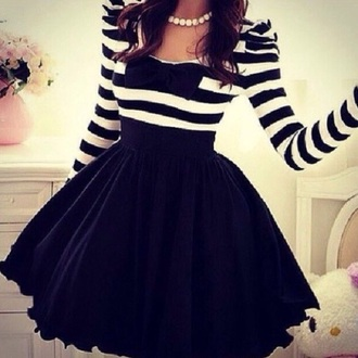 skirt bow dress stripes black and white dress