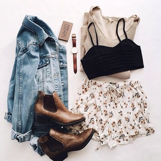 shorts jacket crop tops boots hipster indie boho bohemian bracelets helpmefindit style high waisted shorts boho dress boho choker necklace style me outfit