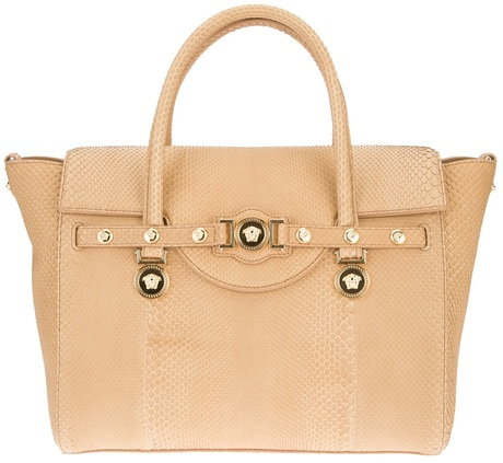 4157b22e4cff Versace Signature Python Printed Tote in Beige (nude)