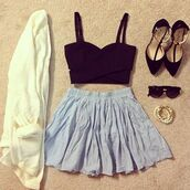 skirt,skater skirt,high heels,cardigan,crop tops,glasses,fashion,jewelry,tank top,shoes,sweater,sunglasses,edgy,knitted cardigan,clothes,black crop top,black,blue skirt,blue,bleue,vest,veste,white,blanche,jewels,brandy melville,oversized cardigan,blouse,soft light blue skirt,shirt,brandymelville,summer dress,summer outfits,top