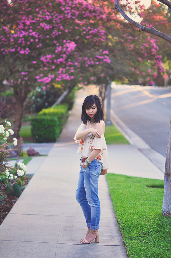 fresh fizzle top jeans shoes belt bag floral white blouse off the shoulder cute blogger fashion vintage